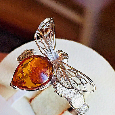 Genuine Russian Baltic Amber Ring Size 7,0 Butterscotch Egg Yolk Vintage Polish