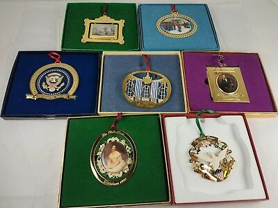 Lot of 7 White House Association Annual Christmas Ornaments 1989 90 93 94 97-99