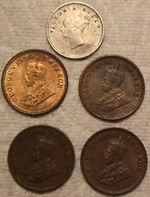 Group India Coins 1841 Two Anna Queen Victoria 1931 1932 1936 1/12 Anna George V