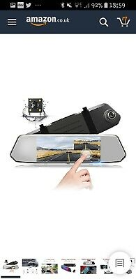 Mirror Dash Cam 1080P Dual Lens 7Inch IPS Touch Screen, Dash Cam Front and Rear