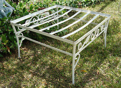 ***SOLD***    Vintage Woodard Mid Century Wrought Iron Scrolly Ivy Leaf OTTOMAN