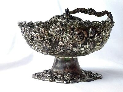 Vtg Silver Plated Over Copper Ornate Flower Pedestal Bowl Candy Dish w/Handle
