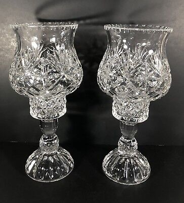 Vintage Cut Glass Hurricane Holders and Cut Crystal Foot Pair Victorian antique