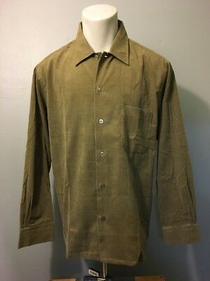 Vtg 50s 60s NOS Green Corduroy Shirt Mens L Deadstock Rockabilly VLV Long Sleeve