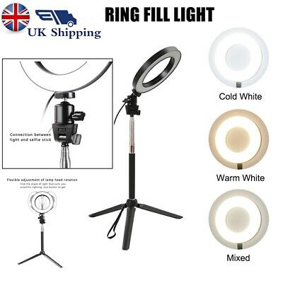 LED 40W 5500K Dimmable Studio Camera Black Ring Light Photo Phone Video 3 Modes