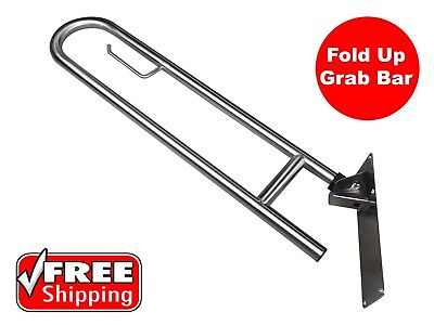 Fold Up Safety Rail Grab Bar Disabled Toilet Stainless Steel Vertical Lock