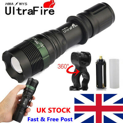 UK Ultrafire 12000LM Zoomable T6 LED Flashlight Super Bright Torch Light Lamp .