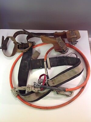 Klein co #8210 Pole Tree Climbing Spurs/Spikes + Harness Waist Belt & strap rope