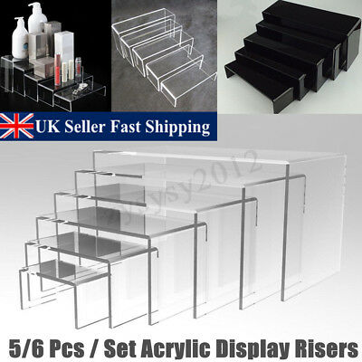 5/6pcs Acrylic Perspex Jewellery Shoes Display Stand Retail Counter Riser New