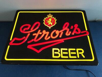 (Vtg) Strohs Beer Neo Neon Plastic Light Up Sign Game Room Man Cave Rare