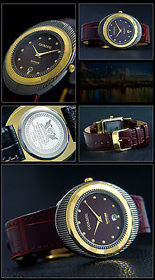 Beautiful & Nice Cavadini Unisex Watch Ip Gold Plated Burgundi Face Colour