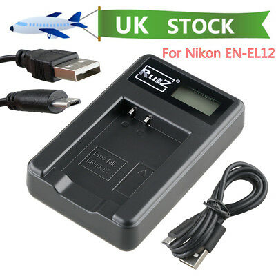 USB Battery Charger For EN-EL12 Nikon Coolpix P300 P330 AW110 AW130 S710 S9500