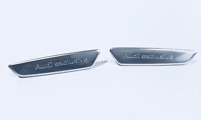 New Original Audi Exclusive Aluminum Left + Right Door Emblem Badge with 6 Clips