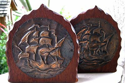 Antique Arts & Crafts Era Wood & Copper Ship Nautical Vintage Book Ends Patina