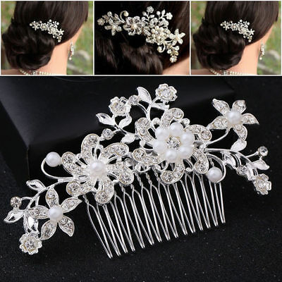Bridal Hair Comb Clip Pearl Crystal Flower Headpiece Wedding Accessories Silver