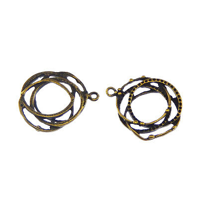 30x22mm Vintage Style Bronze Zinc Alloy Multiple Rings Pendant Charm (x20) Pack