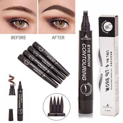 UK 4 Heads Eyebrow Tattoo Pen Waterproof Fork Tip Microblading Makeup Ink Sketch