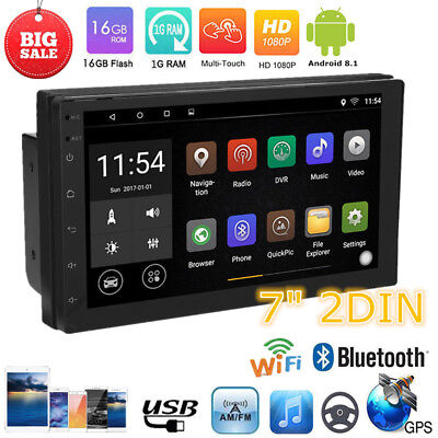 7Inch 2DIN Android 8.1 Car Stereo MP5 Player Touch Screen Bluetooth FM Radio GPS