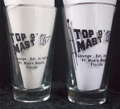 Lot of 2 TOP O' MAST Lounge 1974 Ft Myers Beach Florida Beer Pint Glasses LIbby