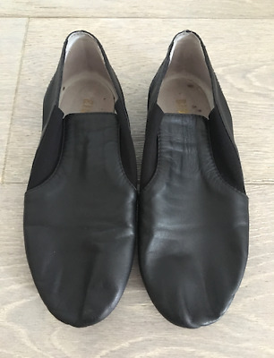 BLOCH Girls Black Leather Shoes sz 5-1/2 Jazz Dancewear Great Condition