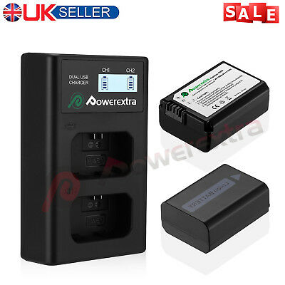 2 x NP-FW50 Battery & Charger For Sony Alpha a6500 A3000 a5100 A7R A7S NEX-3N/5N