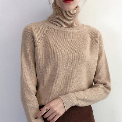 Women Autumn Winter Long Sleeve Loose Knitted Sweater Pullover Jumper Tops LG