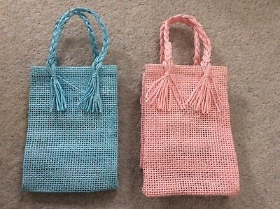26 Small Woven PINK & BLUE GIFT BAGS -Baby Shower Favours JOB LOT Boy Girl