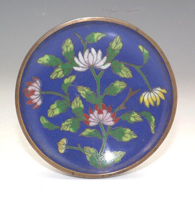 Antique Chinese Cloisonne - Oriental Flower Decorated Pin Tray - Nice!