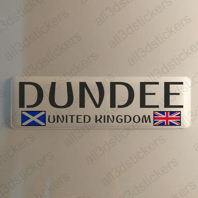 """Dundee Scotland UK Sticker 4.70x1.18"""" Domed Resin 3D Flag Stickers Decal Vinyl"""