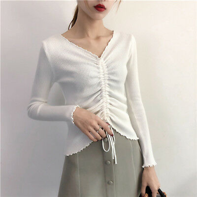 Women Autumn Casual Pullover Loose V-neck Long Sleeve Knitted Sweater Top LG