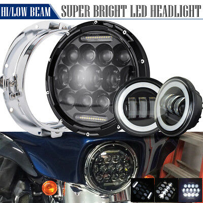 "7inch LED Projector Daymaker Headlight &4.5"" Passing Light For Harley Touring"