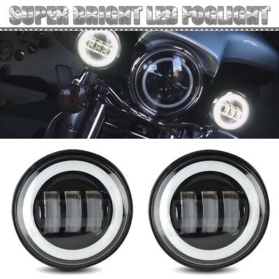 Black LED Fog Light with Halo Ring For Harley Davidson Motorcycle 4.5 Inch 2x