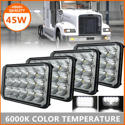 "4PCs 4x6"" LED Headlights Sealed High&Low For Freightliner Classic XL Kenworth"