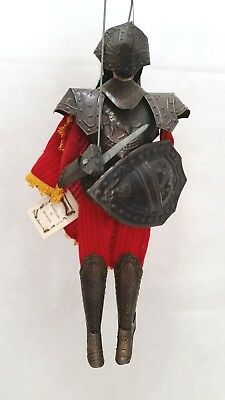Solider Knight Marionette Doll Puppet Wood & Metal Vintage Sicilian Handcrafted