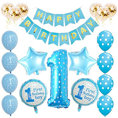 Toupons 1st Birthday Decorations For Baby Boy Blue Happy Banner Latex