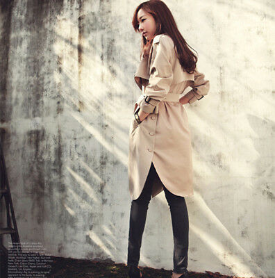 Womens Fashion Long  Loose Coat Trench Jacket Autumn Spring Outerwear LG