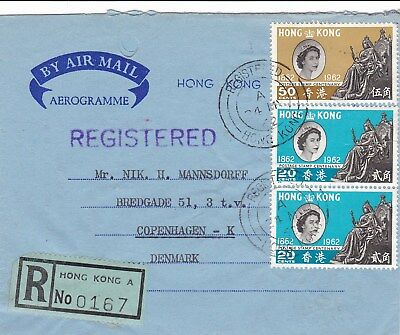 REG Air Letter China Hong Kong 1962 to Denmark