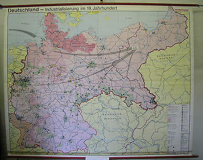 Schulwandkarte Wall Map Germany 19. Jahrh. Industry Rise 241x194 1992