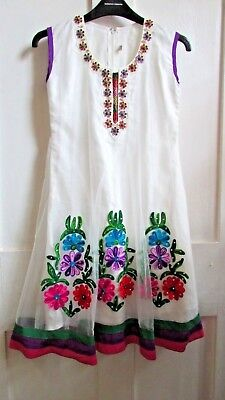 Stunning *traditional Indian* Floral Jewelled Embroidered Summer Dress Size 6/8