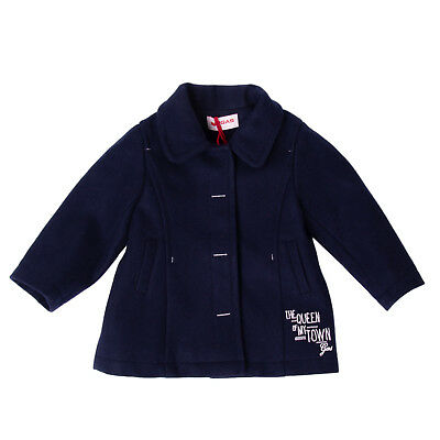 GAS Coat Size 9M Wool Blend Embroidered Logo Popper Front Collared RRP €178