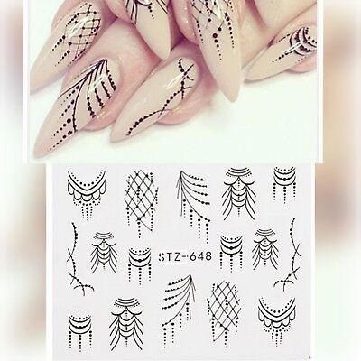 Nail Art Water Decals Stickers Transfers Black Tribal Necklace Gems Lace (S648)