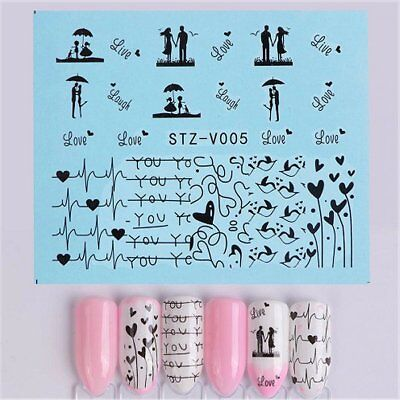 Nail Art Water Decals Stickers Transfers Valentines Day Romantic Couple STZV007