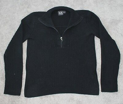ARMANI EXCHANGE Quarter Zip Pullover Sweater Men Medium M Black Knit A/X Cotton