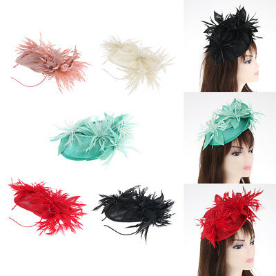 Feather Sinamay Fascinator Women Wedding Headband Clip Linen Hat Races Party