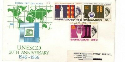 1967 BARBADOS - UNESCO 20th ANNIVERSARY FDC FROM COLLECTION 5B/7