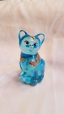 Fenton Glass Hand Painted Signed Blue Cat W/butterfly Kisses And Label