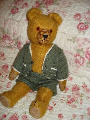 Vintage Mohair German Bear 'otto'  With Knitted Outfit. May Be  A  Herman??