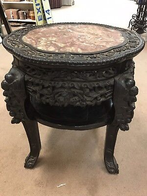 Masssive Antique Chinese Marble Top Ornately Carved Rosewood Table