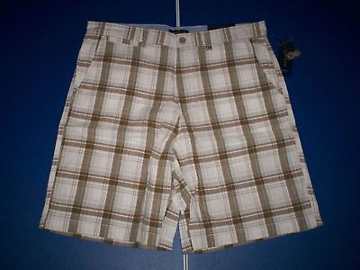 Club Room Men's Openhouse Plaid Flat Front Shorts Raw Umber Size 32 NWT $44
