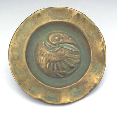 Antique Hammered Brass Arts & Crafts Dish - Grotesque Bird - Unusual!